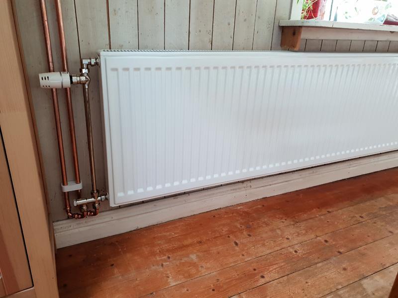Konventering från el till vattenburen radiator